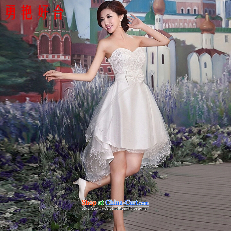 Yong-yeon and 2015 new small dress skirt bride bridesmaid services red wedding dresses marriage services Evening Dress Short bows, lace front stub for a long white聽S