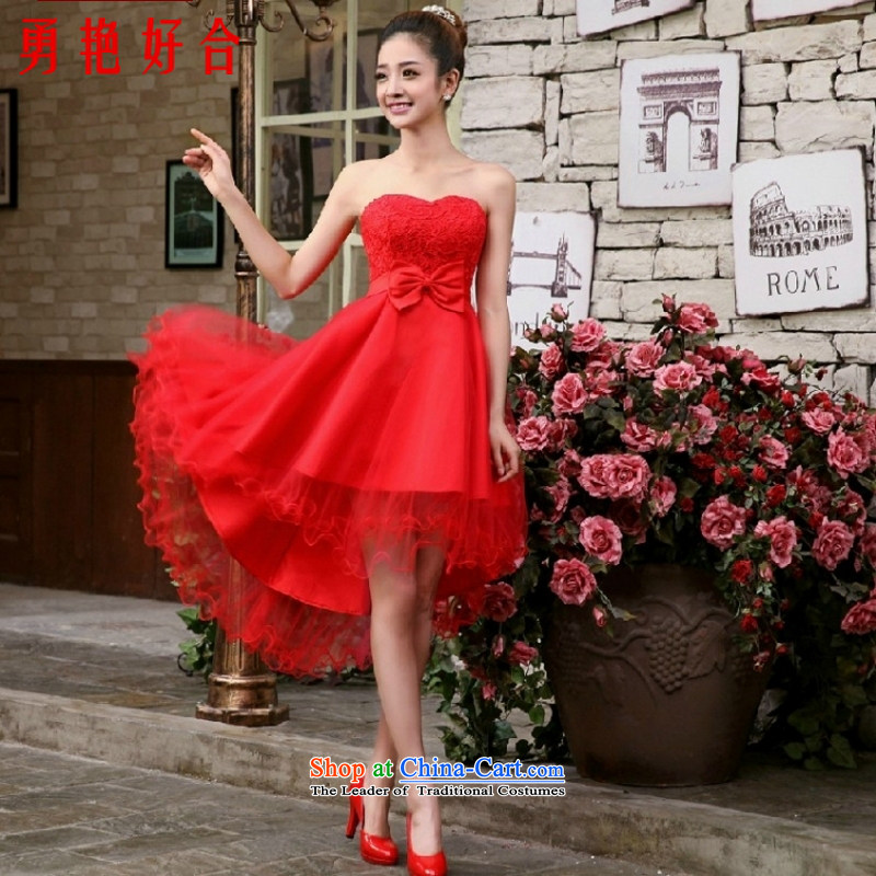 Yong-yeon and 2015 new small dress skirt bride bridesmaid services red wedding dresses marriage services Evening Dress Short bows, lace front stub for a long white S, Yong-yeon and shopping on the Internet has been pressed.