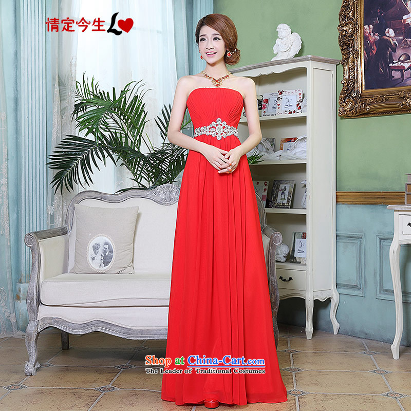 Love of the overcharged wedding dresses�2015 new Korean wiping the scoops long marriage bride banquet bows night female bridesmaid�XXXL red