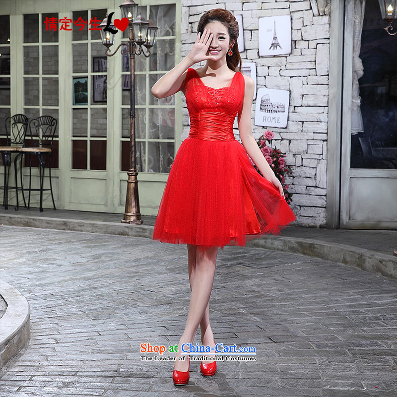 Love of the overcharged shoulders red marriages bows evening dress uniform wedding-sized Foutune of short of female red�XXXL Wedding dress