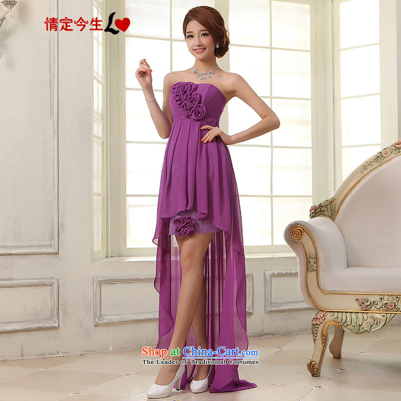 Love of the overcharged by 2015 new wedding dress front stub frockcoat bride toasting champagne after serving evening dresses purple bows to purple?L