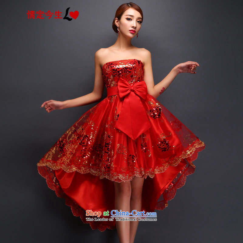 Love of the overcharged 2015 Spring/Summer new bows Service, Bridal wedding dresses long after a short skirt fashion of the Sau San small thin lace erase graphics chest red?L