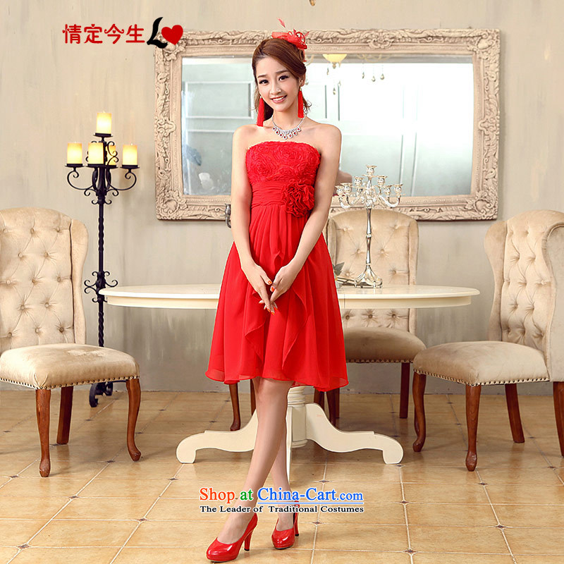 Love of the overcharged by 2015 new dress short of marriage and chest red chiffon bridesmaid bon bon skirt Sau San video lace thin red聽XL