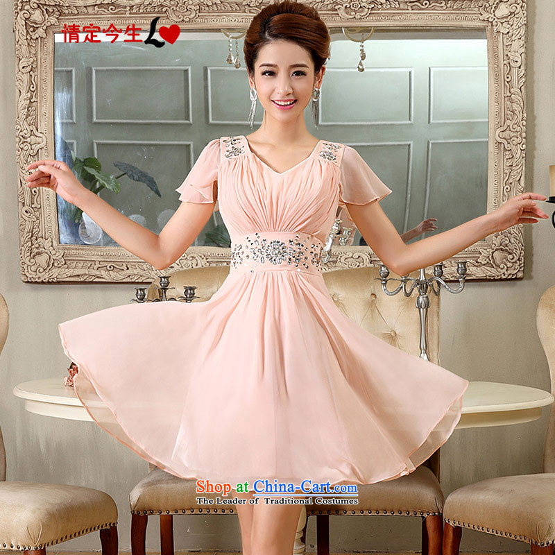 Love of the overcharged by 2015 new dress short skirt bride bridesmaid services serving the princess cuff bows wedding small short skirts Siu Fei cuff Pink Pink-FOUTUNE�XS