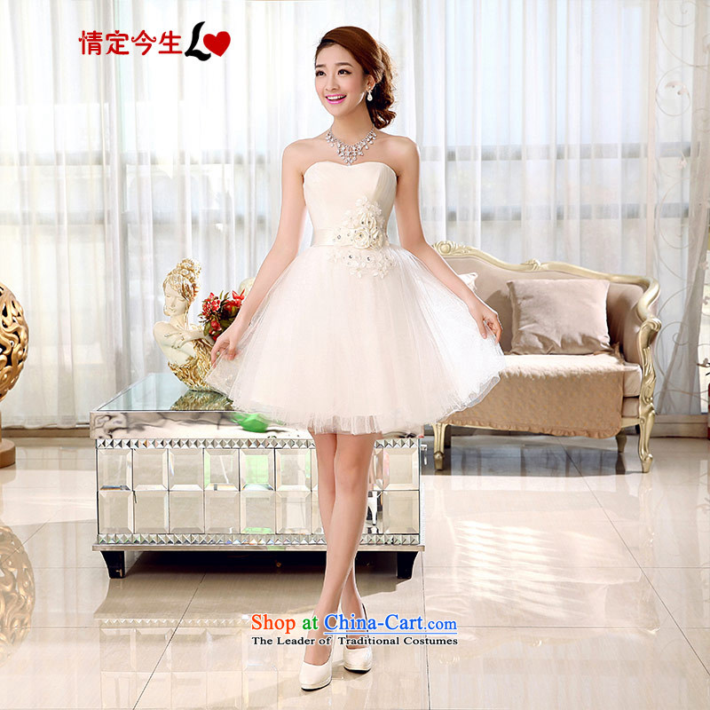 Love of the overcharged by 2015 new Wedding Dress Short of flowers and Chest dinner drink service bridesmaid bon bon skirt Sau San video thin wedding dress female white聽M