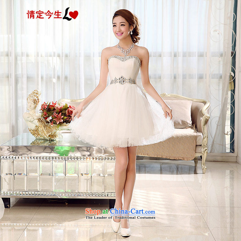 Love of the overcharged by 2015 new wedding dress on chip diamond short, wipe the Chest dinner drink service bridesmaid bon bon skirt thin white XXXL Sau San video