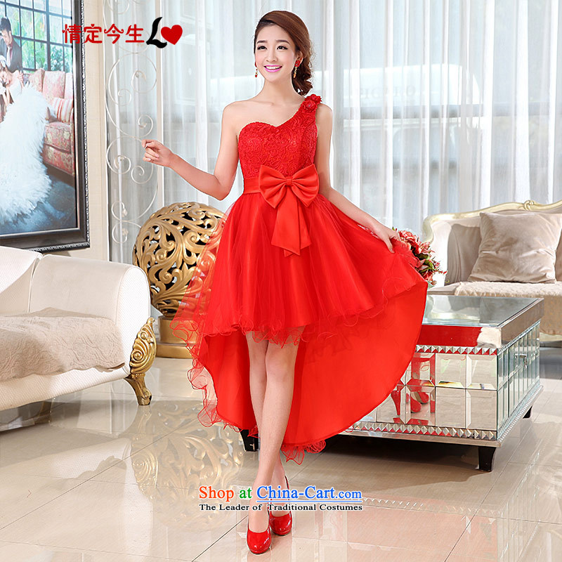 Love of the overcharged by 2015 new bridesmaid to lace evening banquet wedding dress red bows to Korean shoulder Sau San video thin bon bon skirt red?S