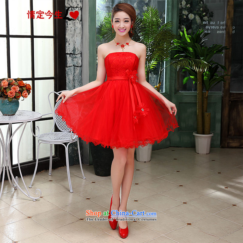 Love of the overcharged�by 2015 new bridesmaid foutune-lace sweet short, red wedding dress female Sau San video thin bon bon skirt�XXXL red