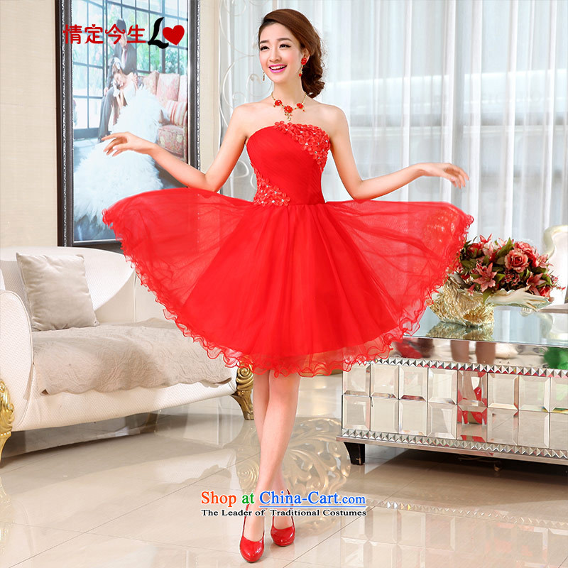 Love of the overcharged by 2015 new bridesmaid marriage bows evening dress short of Sau San video thin lace bon bon skirts and chest Korean Red�XXL