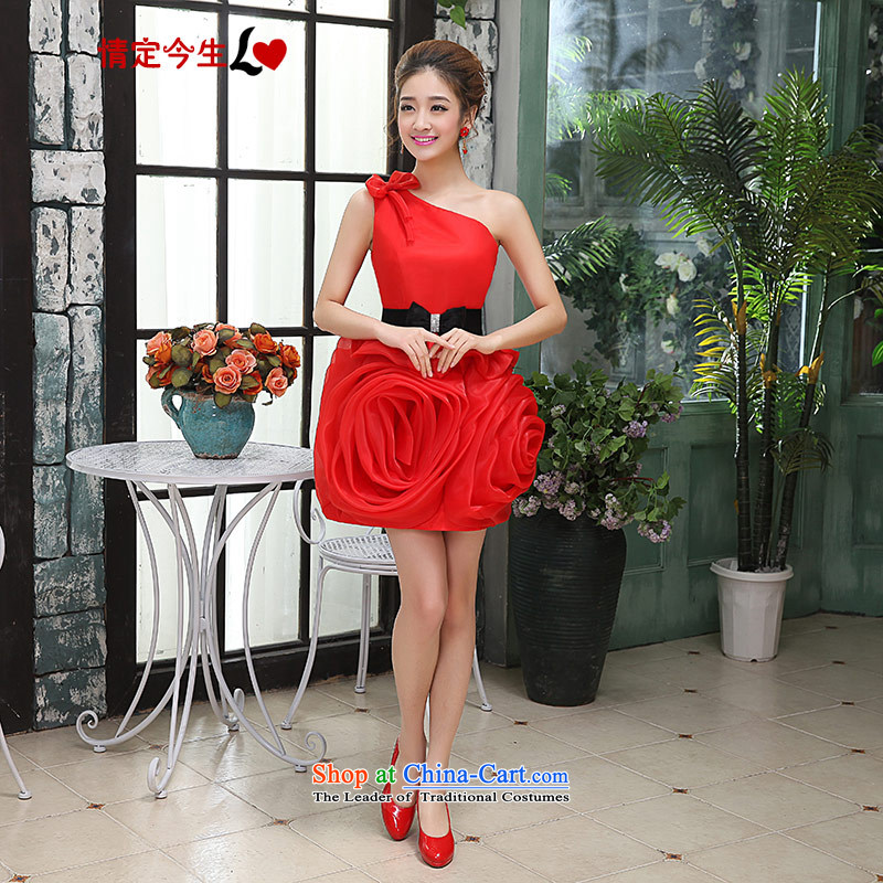 Love of the overcharged shoulder stylish Korean marriages bows services red bon bon apron skirt moderator Dress Short of female red tailor-made exclusively concept Message Size