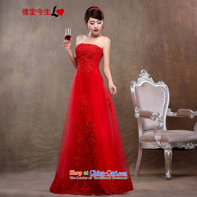 Love of the overcharged by 2015 new graphics thin red dress bride wedding dress wiping the chest long lace large bride wedding bows services red?XS
