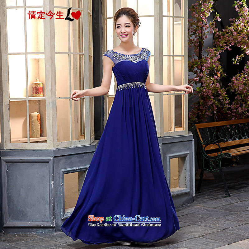 Love of the overcharged�2015 Spring/Summer bride wedding dress red evening drink service marriage will bridesmaid chief, BLUE�L