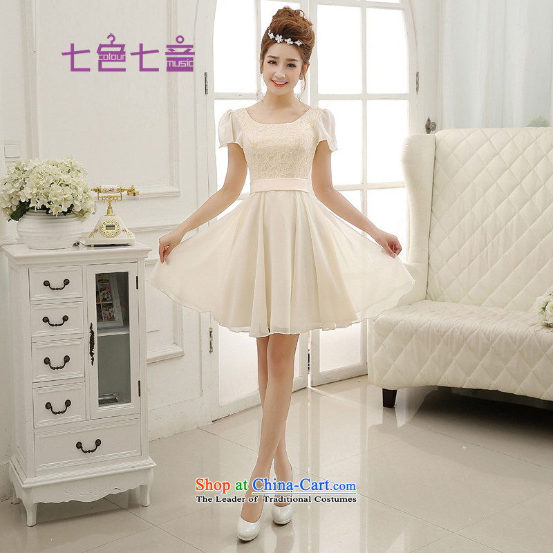 7 Color 7 tone Korean New 2015 chiffon champagne color bridesmaid Dress Short, bows to dress�L009�champagne color�XL