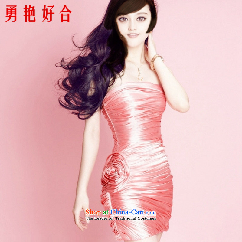 Yong-yeon close Fan Bing Bing with watermelon red creases short dress wiping the chest bride bridesmaid 2015 new packages and small dress watermelon red�XL