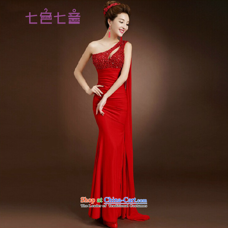 7 Color 7 tone Korean New Madame toasting champagne 2015 serving evening dresses new long moderator clothing wedding banquet dresses Sau San�L015�banquet RED�M