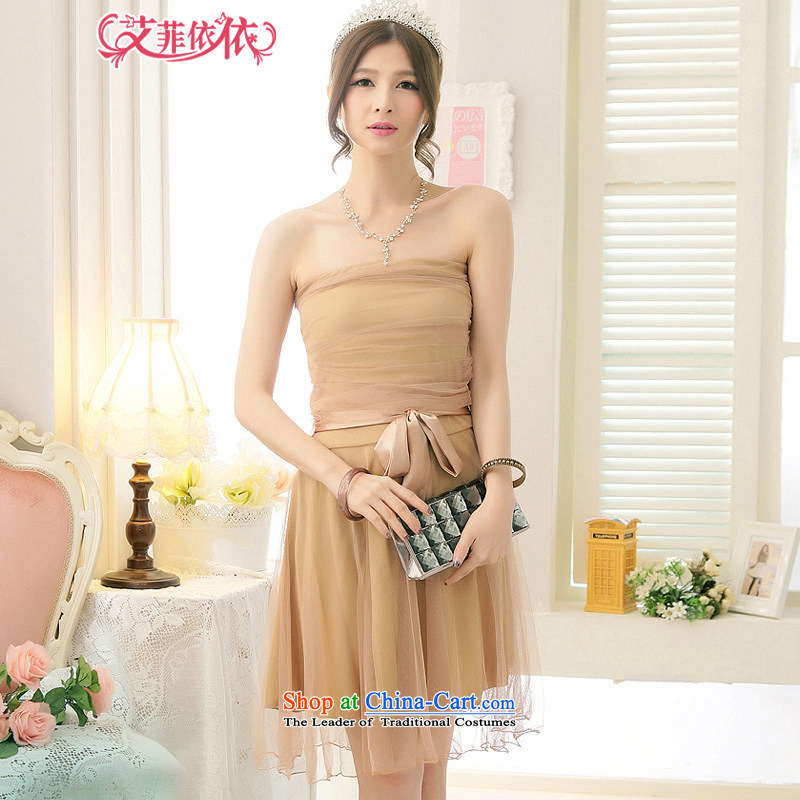 Reft short_ Eiffel gauze wiping the Chest Foutune of small?Korean dress 2015 Marriage banquet hosted bride bridesmaid sister load strap dresses 5343 khaki are code