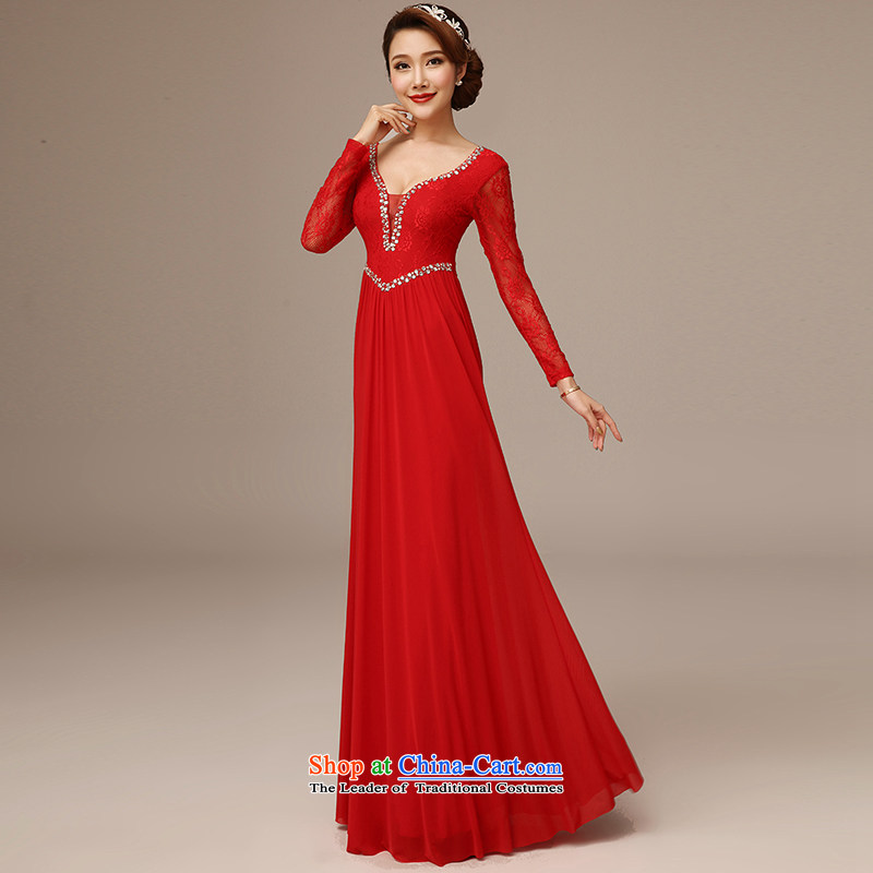 Jie diffuse marriages bows long Word 2015 new shoulder round-neck collar Sau San crowsfoot dress red S