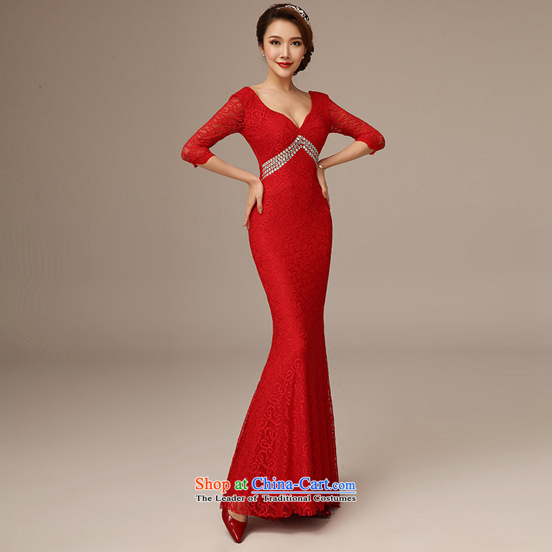 Clean the�new trendy 2015 diffuse deep V-Neck long-sleeved crowsfoot dress Sau San red lace long marriages bows service long red�S