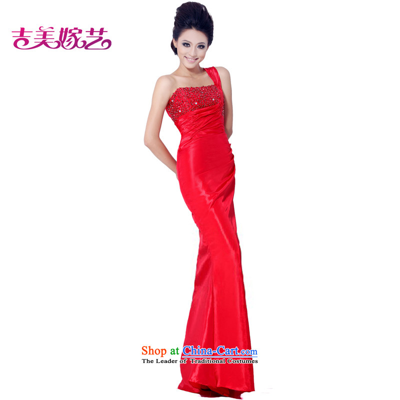 Wedding dress Kyrgyz-american married arts shoulder the new 2015 Korean Red Dress crowsfoot LS3004 bride dress red?S