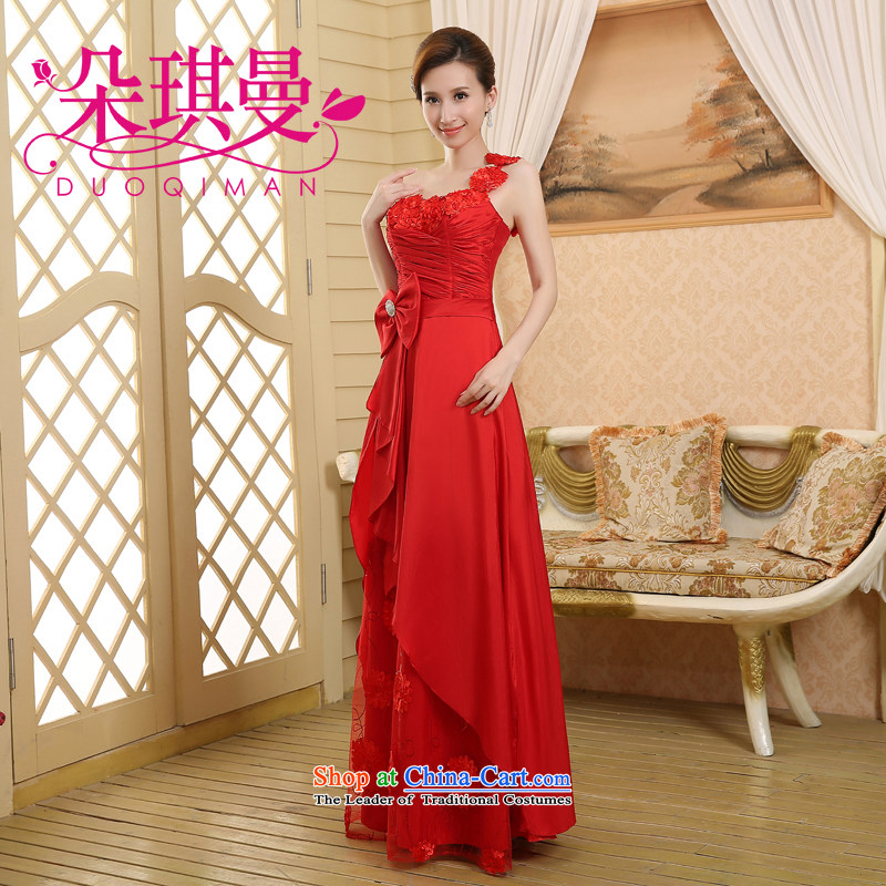 Flower Angel Cayman 2014 new promotions to align the red wedding dress long Sau San banquet bride bows evening dresses�XL