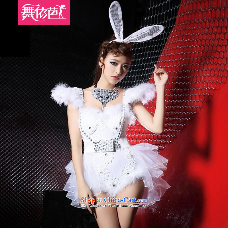 The new nightclubs 酒吧女 ds dance will replace the body and sexy singer services flash yi diamond rabbit boxed _8394 white?S?small code
