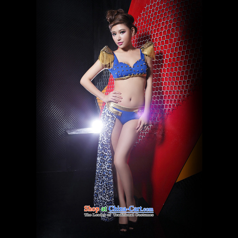 In accordance with the European and American �ư�Ů Pattaya dance performances to dance ds clothing female singer atmospheric stage leopard split #8264 kit?M?in blue code
