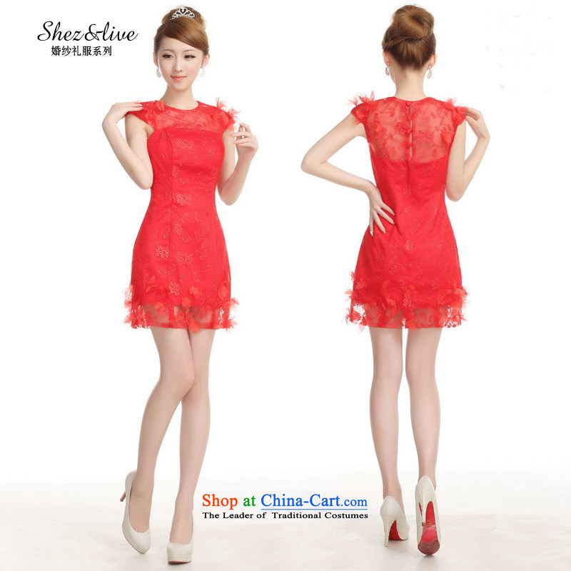 Shez_live Women 2014 bride bridesmaid bows small dress marriage shoulders lace the dinner show moderator dress red聽XXL