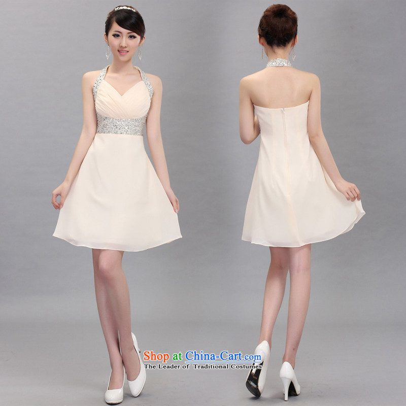 Shez&live Women 2014 bride bows evening dress short, Hang Sau San dress stars also chaired wedding dress champagne color L