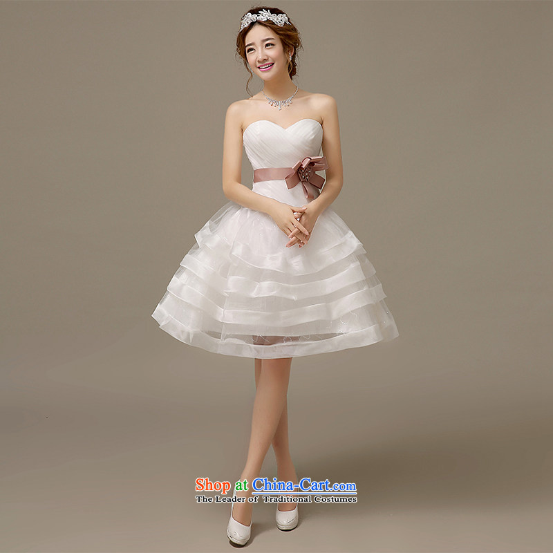 Hiv Miele wedding dresses 2015 Spring/Summer Korean anointed Chest Flower short of manually wedding Sau San cascading bon bon?L0045?White?M Strap