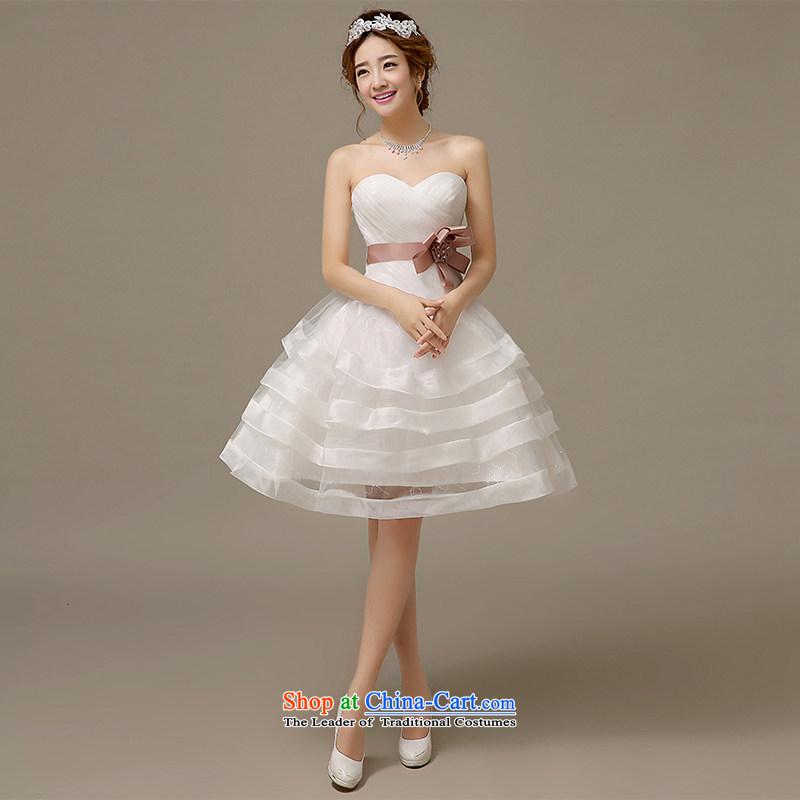 Hiv Miele wedding dresses 2015 Spring_Summer Korean anointed Chest Flower short of manually wedding Sau San cascading bon bon聽L0045聽White聽M Strap
