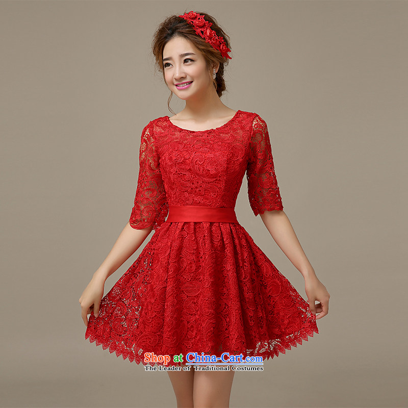 The HIV聽2015 Spring_Summer Evening Dress Short of Korean red lace in cuff qipao marriages bows services will聽L0044 M