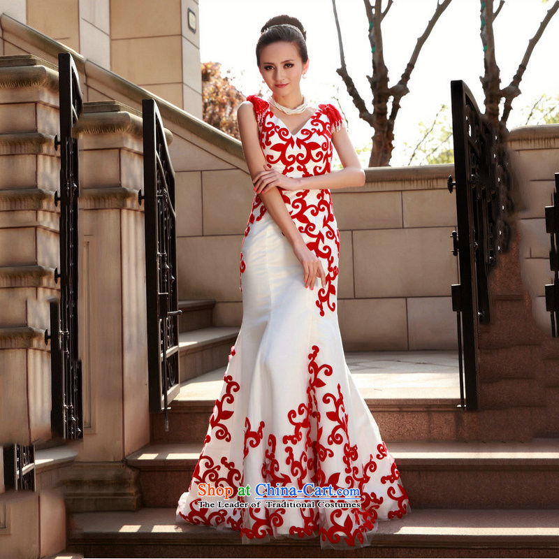 Naoji a luxurious new red and white crowsfoot long marriages evening dresses bows services under the auspices of dress AL1489 performance white?S