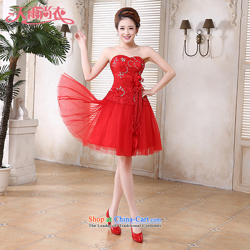 Rain-sang yi bride Wedding 2015 new marriage bows to the Princess Mary Magdalene chest integrated sweet with short, bridesmaid small dress LF191 tailored red