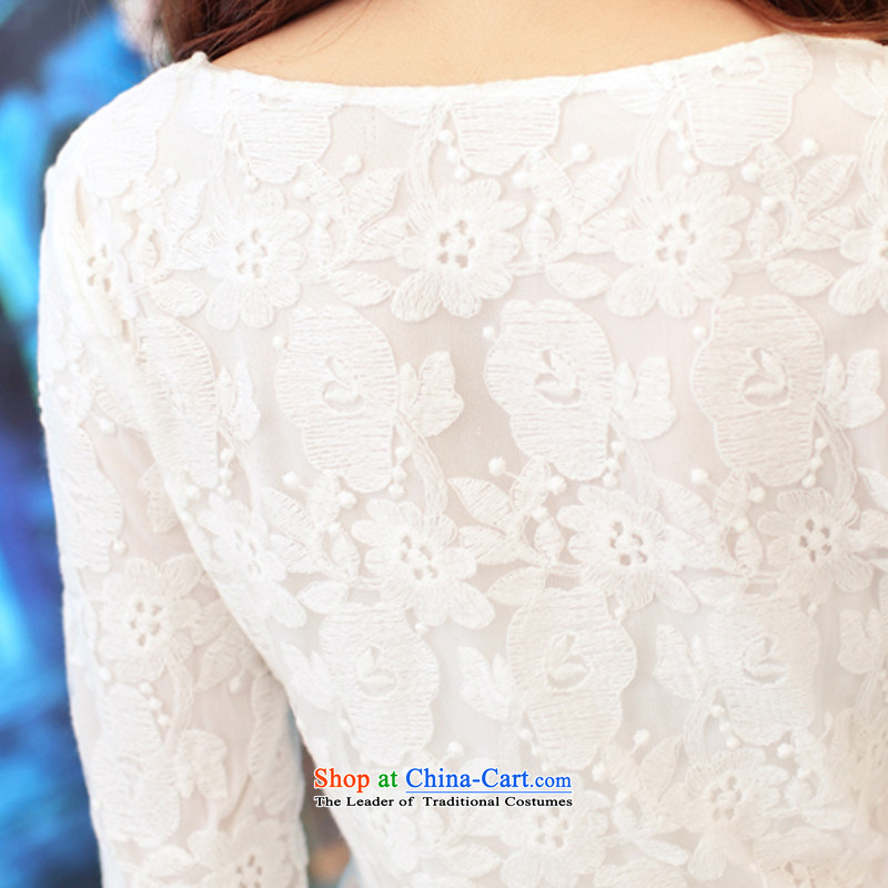 In 2015, the new card engraving lace in Sau San cuff dress dresses SW15015whiteM in card (jeandka) , , , shopping on the Internet