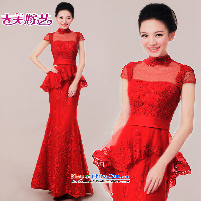 Wedding dress Kyrgyz-american married arts New Package 2015 shoulder length of Korean dress LS7307 bridal dresses red?S