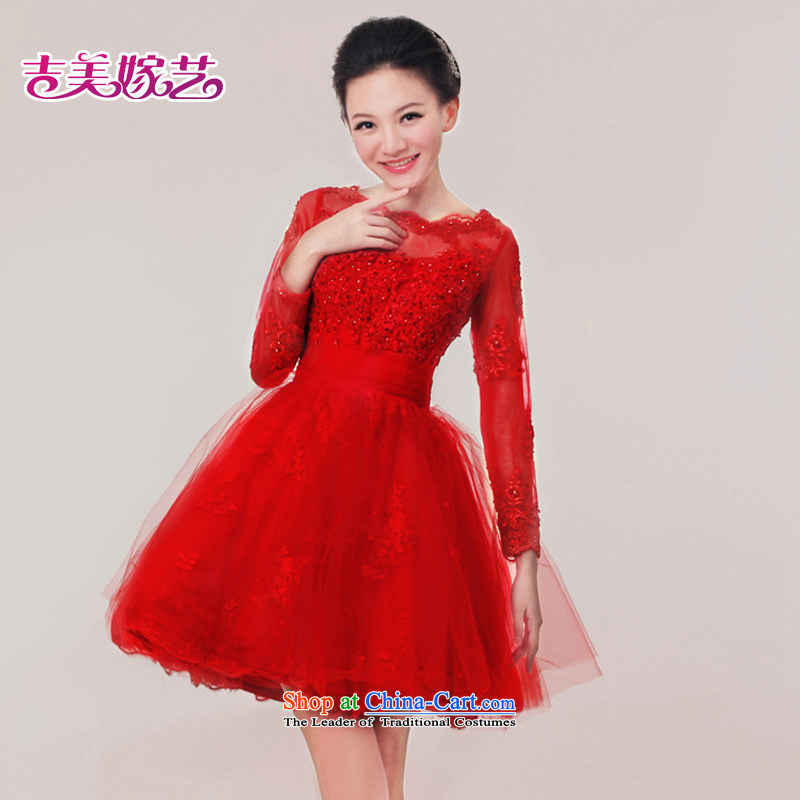 Wedding dress Kyrgyz-american married arts new 2015 red lace Dress Short) Bride toasting champagne L7308 services redXS