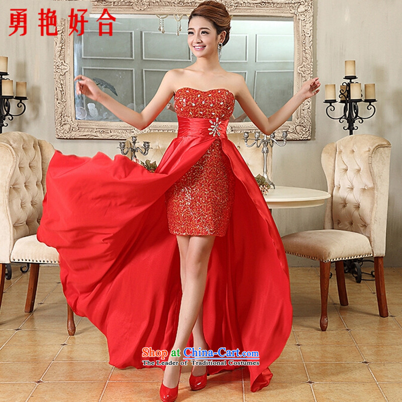 Yong-yeon and 2015 New Korean brides bows champagne color front stub long after a female dress banquet service sweet red?S