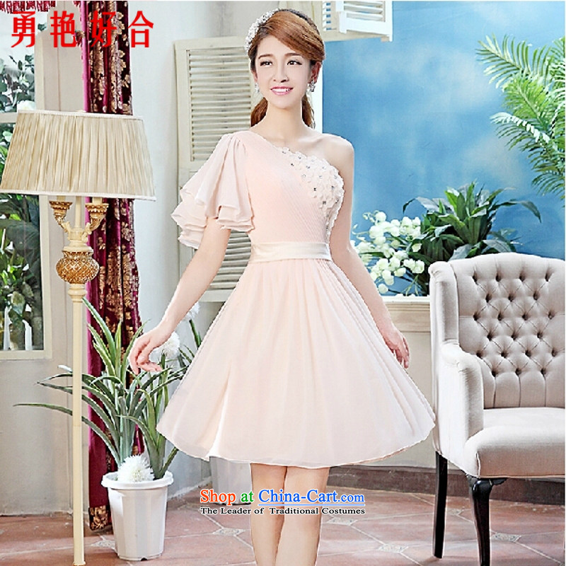 Yong-yeon and 2015 New marriages bows Wedding Dress Short of small dress shoulder bridesmaid serving champagne color?S