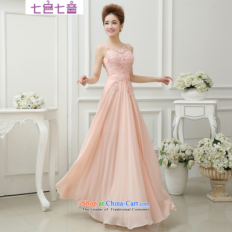 7 Color 7 tone Korean New 2015 lace long gown wedding dress bows bridesmaid services services will replace?L007 bride?pink strap?S
