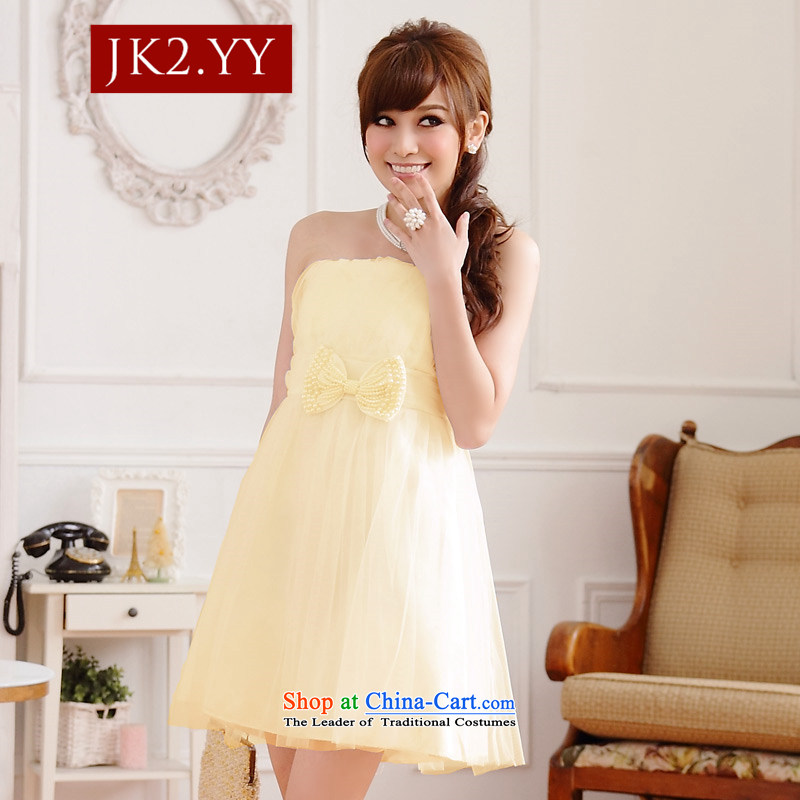 Sweet sister bridesmaid Jk2.yy skirt bow ties at the end of lap gauze thin chest bare shoulders dress pink dresses