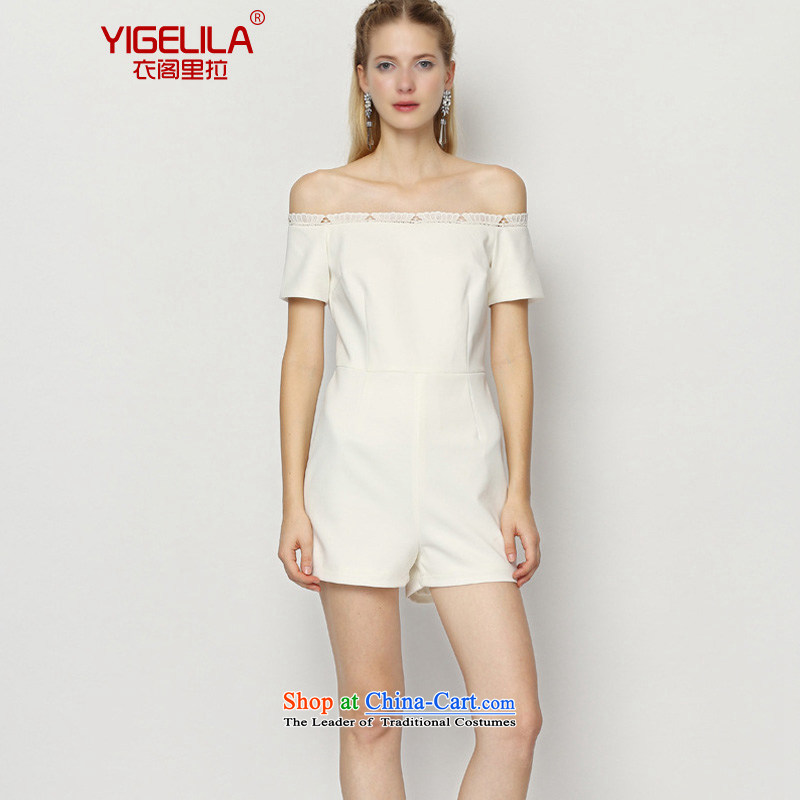 Yi Ge lire /YIGELILA aristocratic slotted shoulder Sau San simple dresses and skinny graphics lace-trousers female white 5199 M