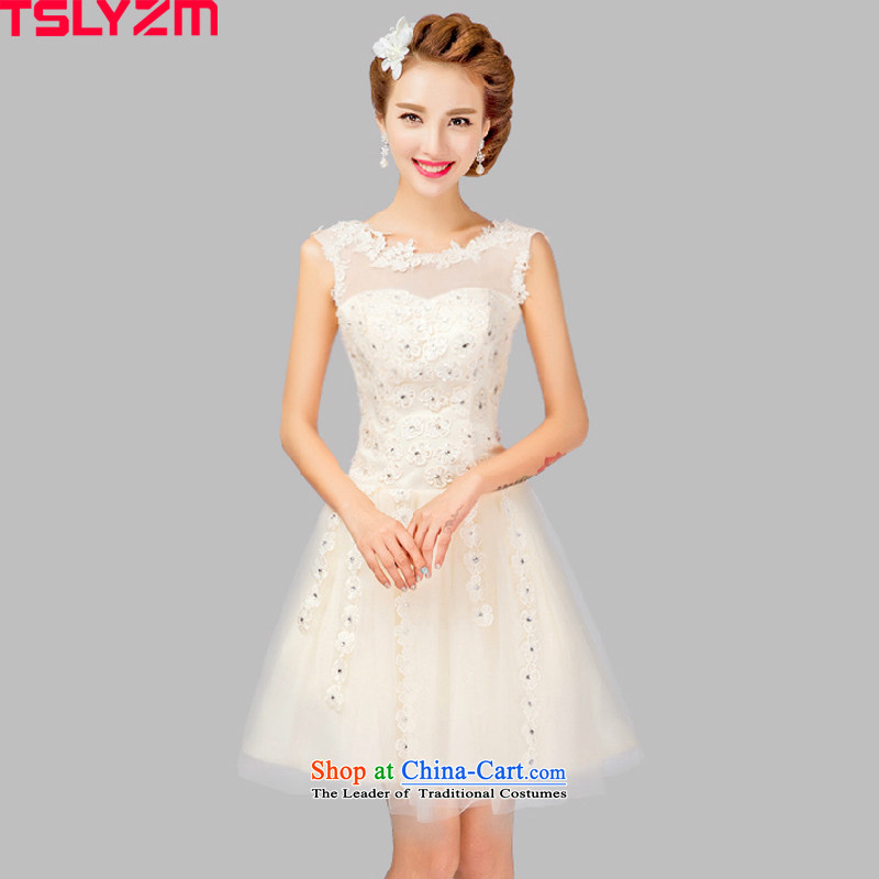 Tslyzm bride dress bridesmaid Service, 2015 New autumn and winter flower bows Service Manual noble aristocratic Sau San red white wedding dress m White?M