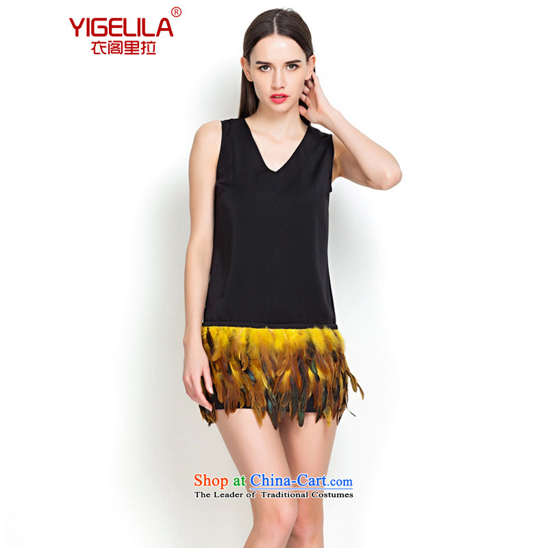 Yi Ge lire /YIGELILA Flamingo feather dresses Sau San video thin V-Neck vest short skirt black 6560 S