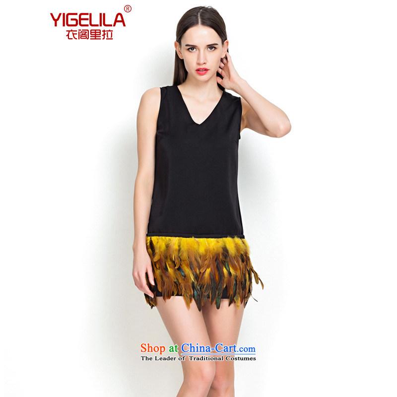 Yi Ge lire _YIGELILA Flamingo feather dresses Sau San video thin V-Neck vest short skirt black 6560 S