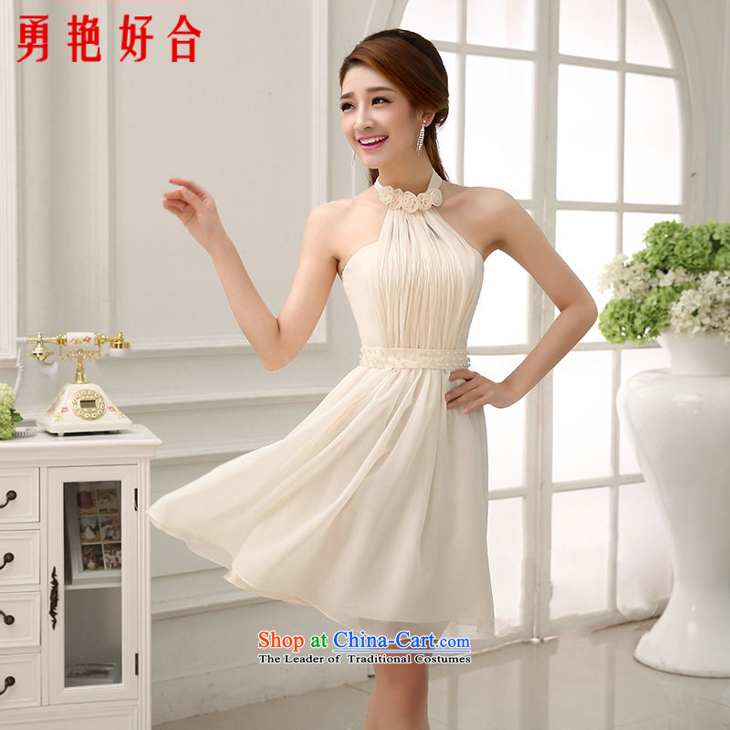 Yong-yeon and 2015 new summer gown hanging also transmitted Small Service Bridal short of the chiffon short evening dress Sau San dress champagne color?S