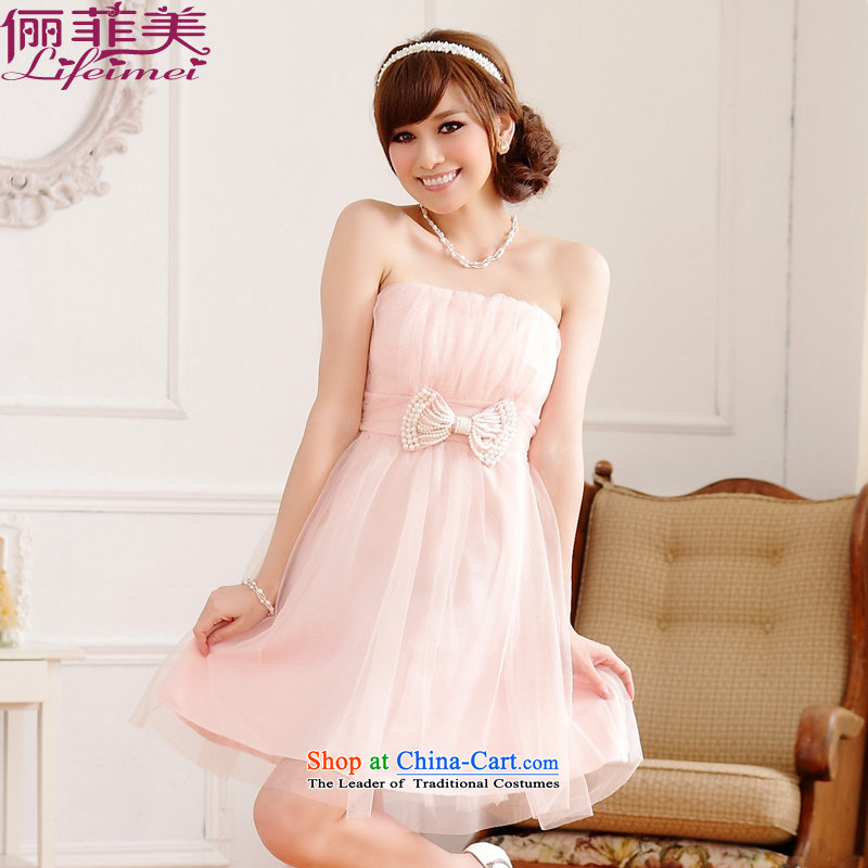 158 large and thick Korean sweet temperament mm wiping the chest small dress gauze bow tie nail pearl back tightness princess skirt sister bridesmaid high waist he skirt pink?XXL 135-155 for a catty