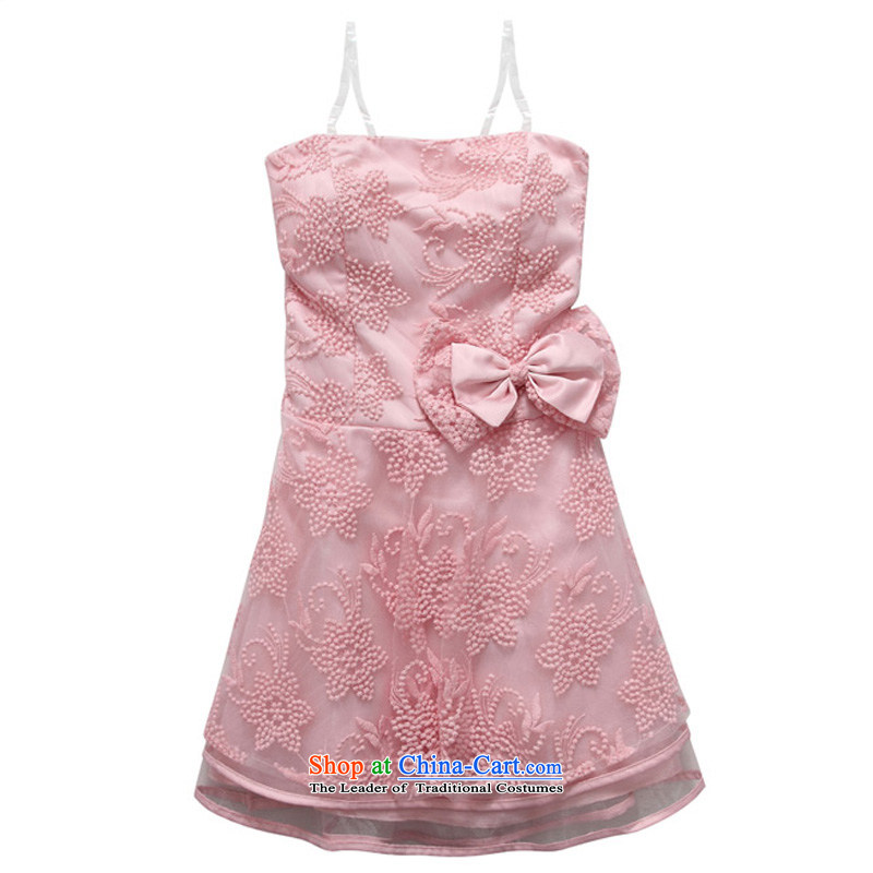 Li and the embroidery wiping the chest small dress double petticoats temperament back tightness back large Fat MM maximum swing even turning skirt celebration bridesmaid sister skirt pink XXXL 155-175 suitable for that achievement and shopping on the Internet has been pressed.