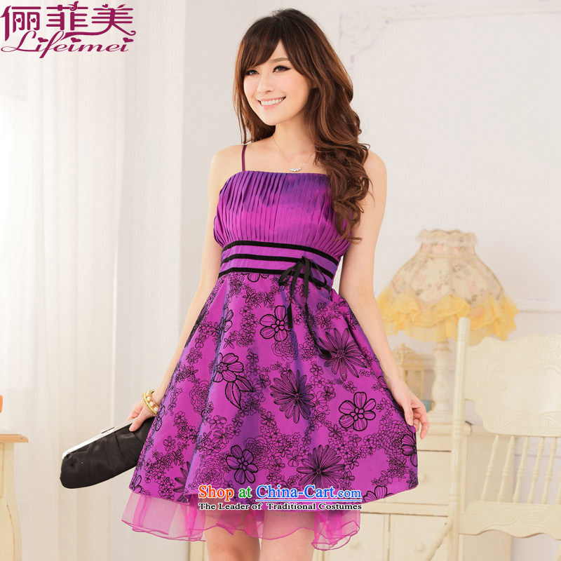 Large fat mm Jk2.yy evening dress straps lamings value women spend a lint-free field he show banquet dress skirt purple?XL 115-135 for a catty