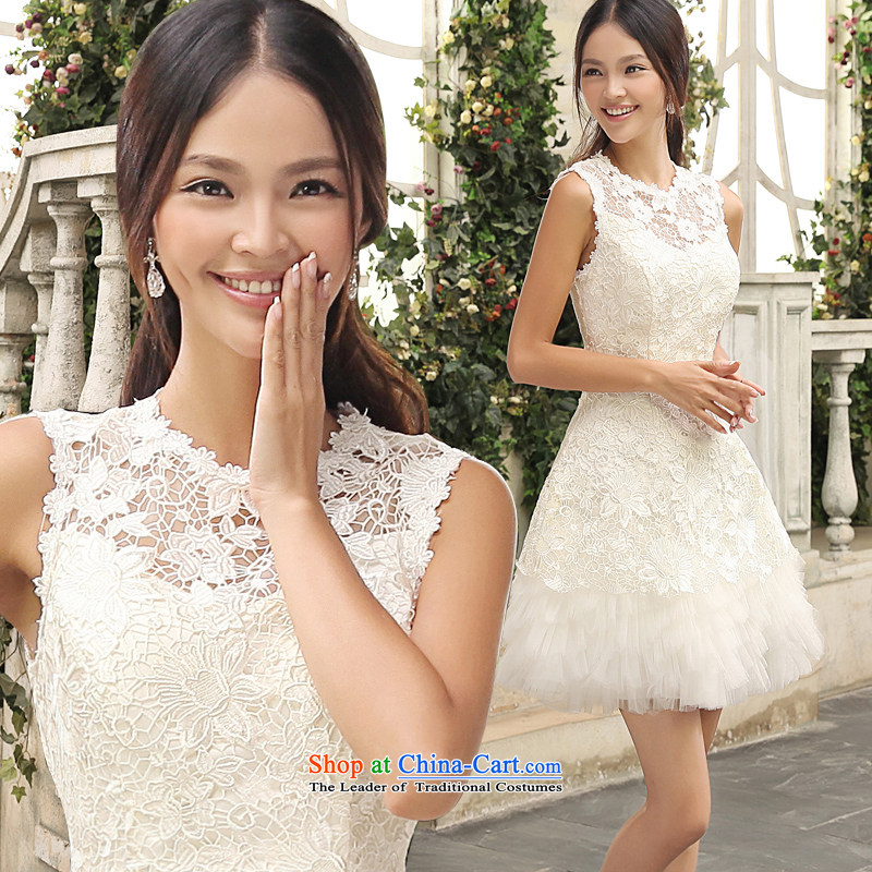 Shared Keun guijin 2014 new wedding dresses lace bridesmaid service, the white field shoulder small dress Female dress skirt m White?XL code from Suzhou Shipment