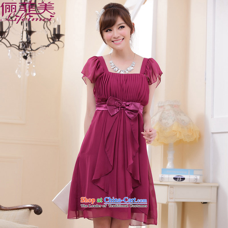 158, beauty with a party for large skirt high waist bow ties He dresses and sisters may skirt dress chiffon dresses dress thick mm thin purple聽XXL suitable graphics 138-158 catty